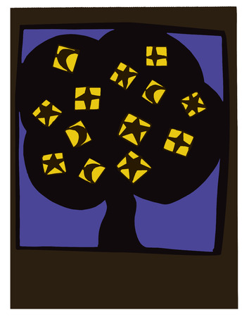 poetic: Paper cut artwork of a tree with moons and stars as fruits  Illustration