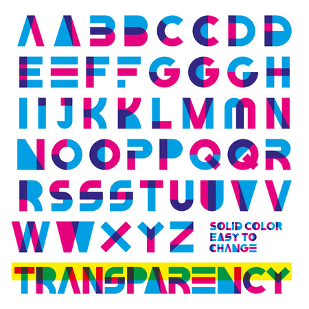 display type: typeset in primary colors transparency. solid colors easy to change. Illustration
