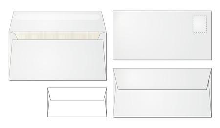 dl: standard envelope design folded and open, front and back side