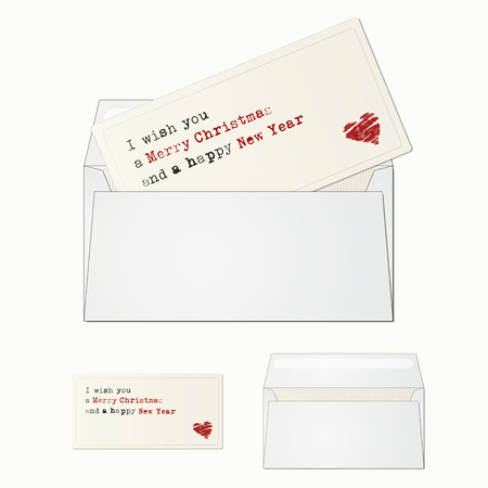 Elegant and minimal greeting card with envelope for season greeting. Vector