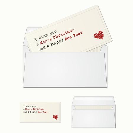 greeting season: Elegant and minimal greeting card with envelope for season greeting. Illustration
