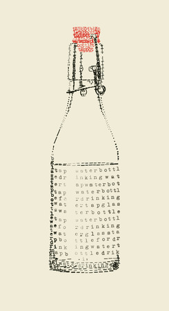 a tap water bottle in typewriter art Vector