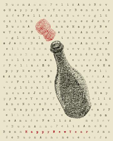 Nueva botella de champán año feliz en el arte de escribir Foto de archivo - 34324326