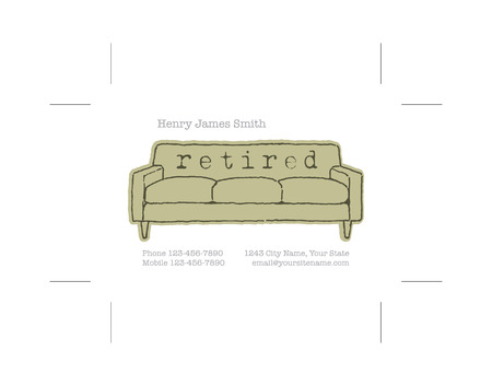 old sofa: retired business card with crop marks