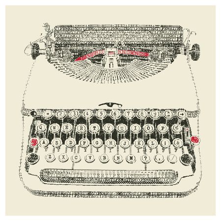 Typewriter in typewriter art Vector