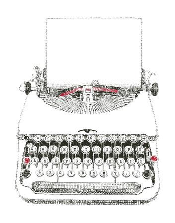 Typewriter with paper sheet in typewriter art