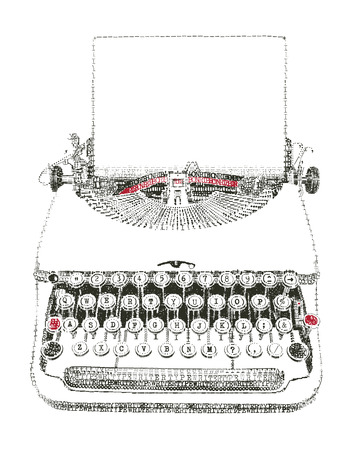 writing paper: Typewriter with paper sheet in typewriter art