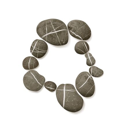 striated: striped pebbles circle. one layer for each one