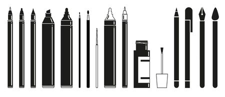 pen and marker: Simple flat black and white scripting and drawing tools