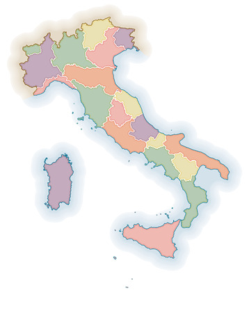 florence italy: Political map of Italy. One layer for each region