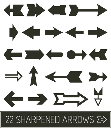 pointed arrows: Pointed arrows in flat clean black solution Illustration