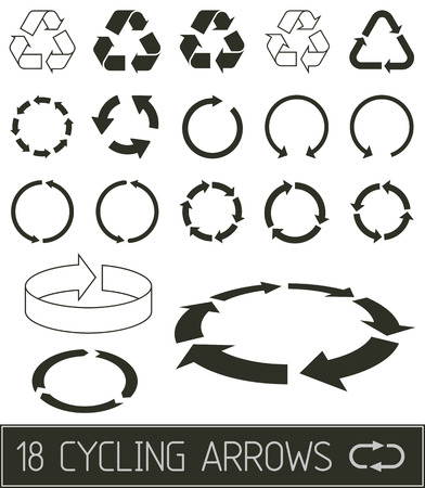 recycle icon: cycling arrrows flat clean black solution