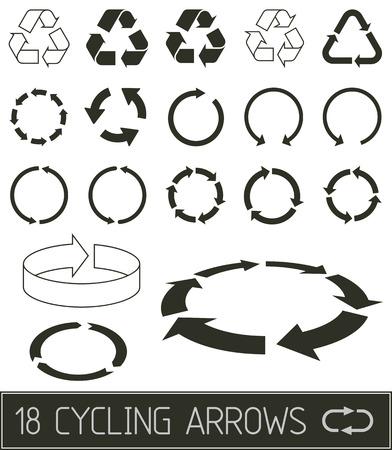 cycling arrrows flat clean black solution