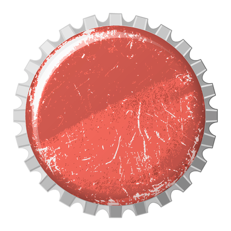 vector realistic scratchy red bottle cap