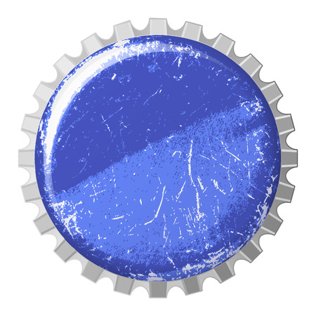 cold drinks: vector realistic scratchy blue bottle cap