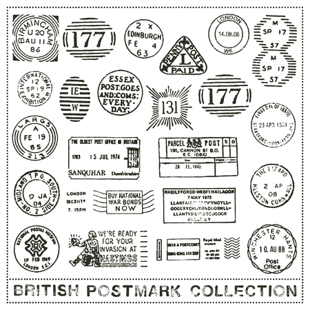 cancellation: vector set of postage stamp cancellation marks of the United Kingdom Illustration