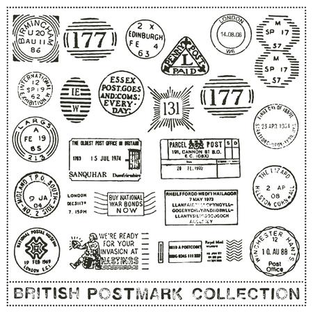 vector set of postage stamp cancellation marks of the United Kingdom Иллюстрация