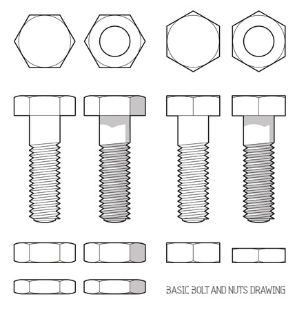 hardware: Hexagonal bolt and nuts in orthogonal projection