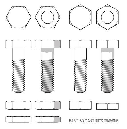 tuercas y tornillos: Perno hexagonal y tuercas en proyección ortogonal