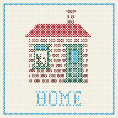 punto cruz: cruz puntada casa con el gato en la ventana