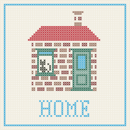 cross stitch home with cat on the window