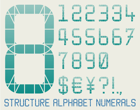 visible: Architectural alphabet with visible construction grid Illustration
