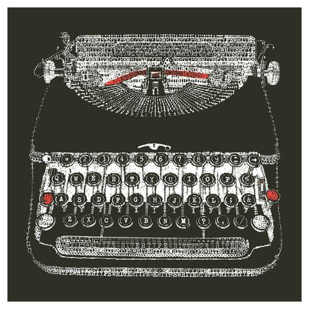 Typewriter in typewriter art - negative