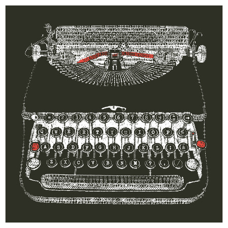 old typewriter: Typewriter in typewriter art - negative