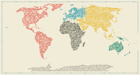 Map of the world in typewriter art Stock Photo