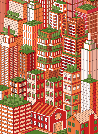 greenfield: isometric green town, each building a grouped item