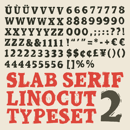 Home made slab serif woodcut typeset