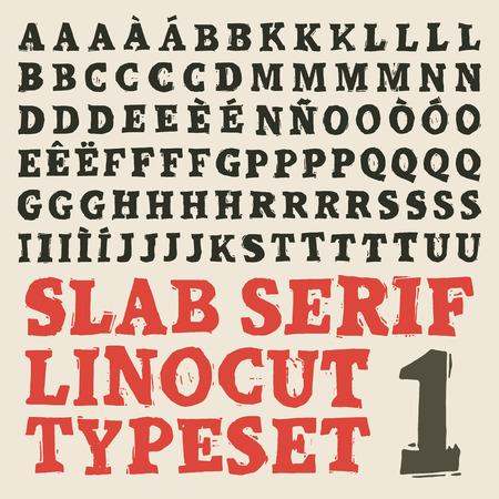serif: Home made slab serif woodcut typeset