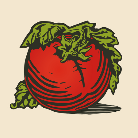 wooden cut: Tomato in woodcut print style Illustration
