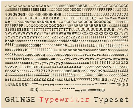 type writer: Grunge typewriter font. many alternatives for each glyph