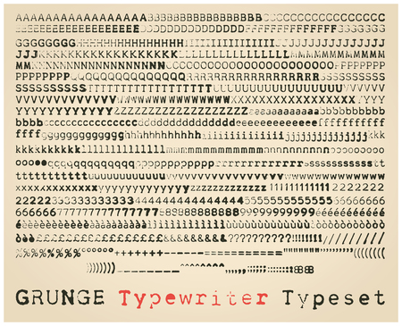Grunge typewriter font. many alternatives for each glyph