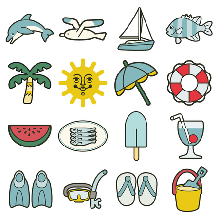 watermelon boat: simple summer sea vacation icons