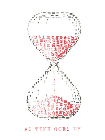 A hourglass in typewriter art. as time goes by Illustration