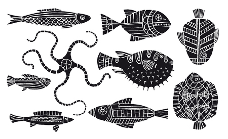 withe: withe lines doodles of fantasy fishes
