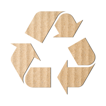 recycling symbol: Recycling symbol made of corrugated cardboard