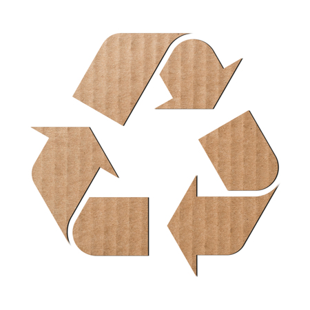 corrugated cardboard: Recycling symbol made of corrugated cardboard