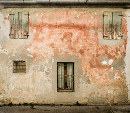 the po valley: rear facade of an old poor traditional house in the Po Valley. SantAlberto, Ravenna, Italy.
