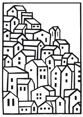 rural house: Mountain Village Vector Blank Illustration Illustration