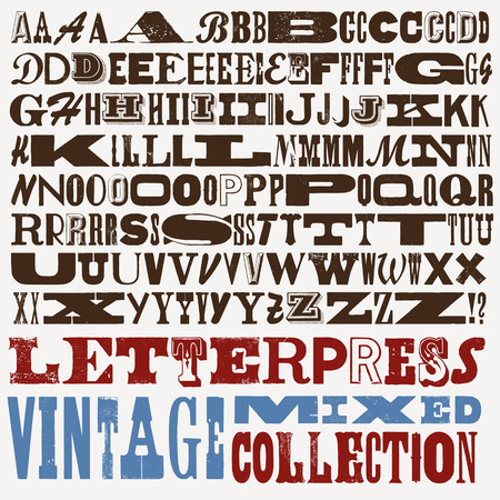 monotype: Mixed vintage letterpress collection