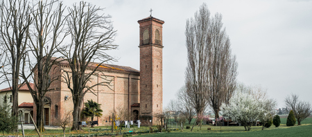 Rural church in the low Po Valley Stock Photo