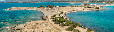 Panoramic view on ancient Roman site of Nora. Pula, Cagliari, Sardinia, Italy. Banco de Imagens