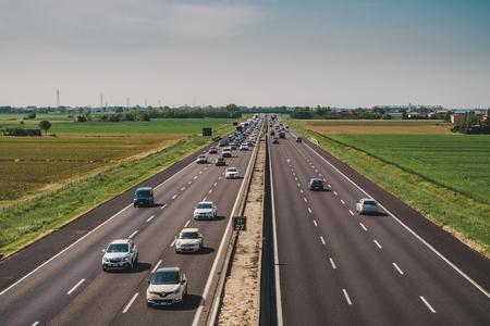 Castel San Pietro, Bologna, Italy - 04282018. Paid highway traffic