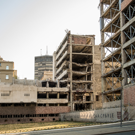 Belgrade, Serbia. August 27, 2017. General Armed Force Staff Building, bombed in 1999 Balkans war, still remain destroyed as memorial.