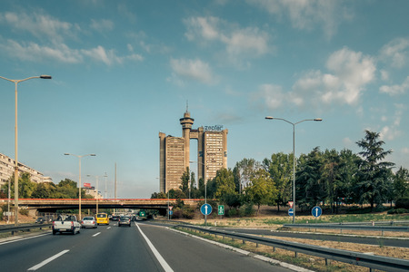 Belgrade, Serbia. August 29 2017. Western City Gate of Belgrade viewed from E 70 route. Editorial