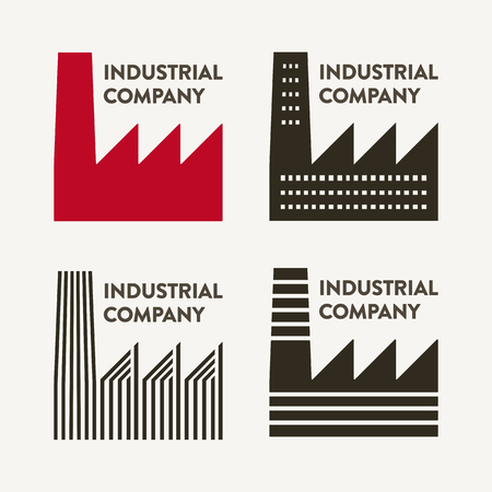 Four flat industrial corporate signs