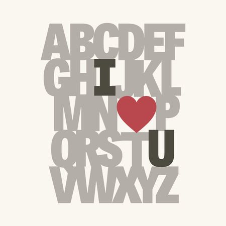 Alphabet I love you. Valentine message.